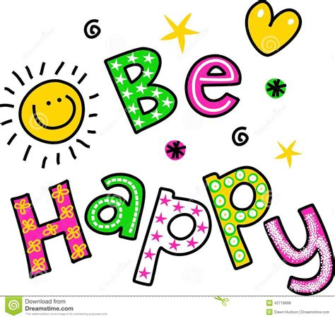 happy clipart be happy clipart text stock illustration image 43718898