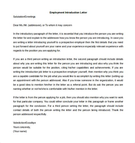 Introduction Letter To Employer letter of introduction template 5 free word pdf