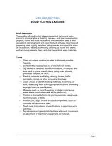 Laborer Description construction laborer description template sle form biztree