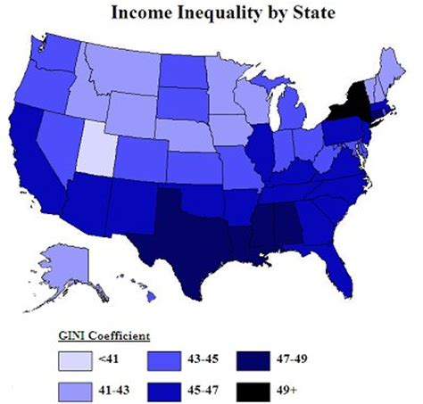 map of us states by income income inequality in america econwiki