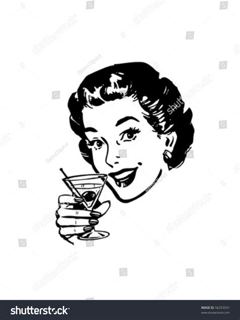 vintage martini clipart martini toast retro clip stock vector 56253541