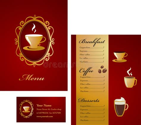 pages menu card template menu and business card template design coffee stock