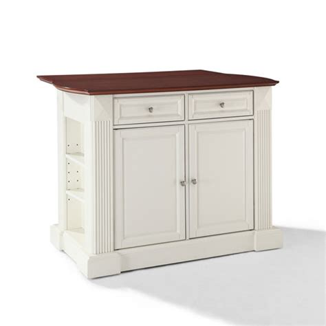 crosley furniture hardwood drop leaf breakfast bar kitchen drop leaf breakfast bar top kitchen island in white finish