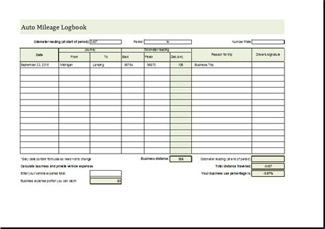 auto mileage logbook editable ms excel template word