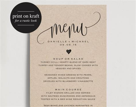 menu card wedding template rustic wedding menu wedding menu template menu cards