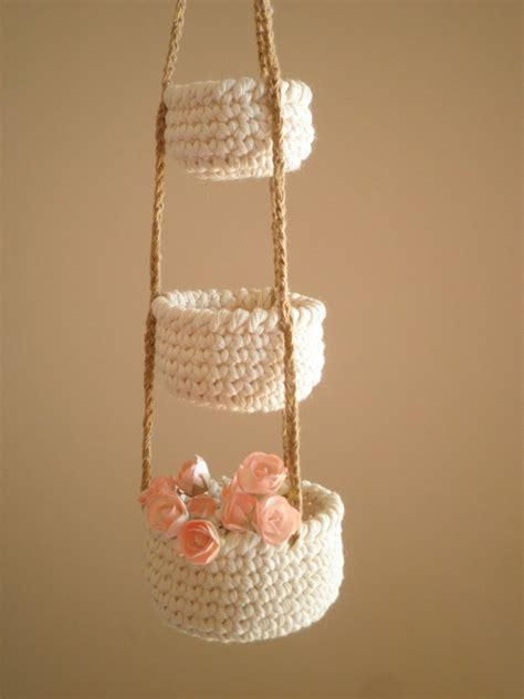 baskets for home decor 3 tier crochet baskets mini hanging baskets