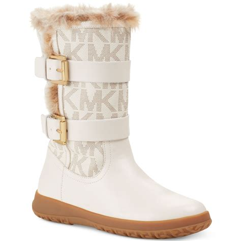michael kors snow boots michael kors aaran cold weather faux fur boots in white
