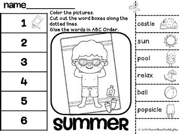 summer cut and paste worksheets summer abc order cut and paste printable freebie by more