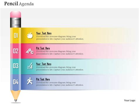 0914 Business Plan New Pencil Diagram Agenda Powerpoint Powerpoint Meeting Agenda Template