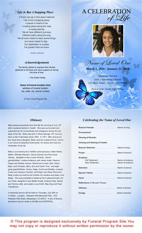 funeral programs templates microsoft word 9 best images of free printable funeral programs