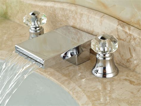 crystal bathroom taps waterfall spout chrome finished bathrooml sink faucet brass crystal handles basin