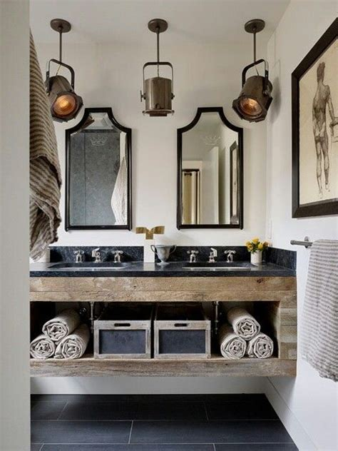 industrial style bathroom lighting bathroom with theatre lights industrial chic decor