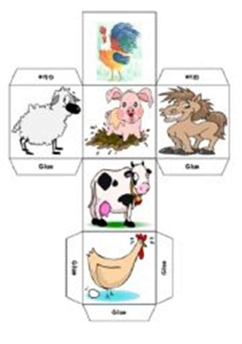 printable animal dice english teaching worksheets farm animals