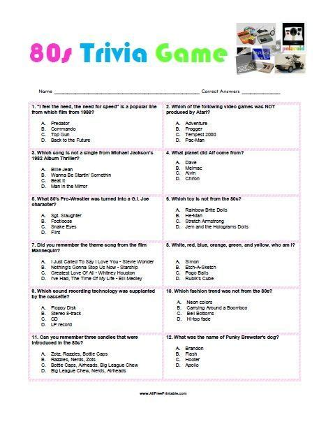 theme party quiz free printable 80s trivia game 80 s party game