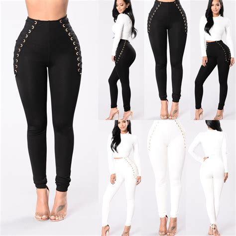 J2 Legging Fashion D0972 Black casual new high waisted thick jeggings stretch black white in