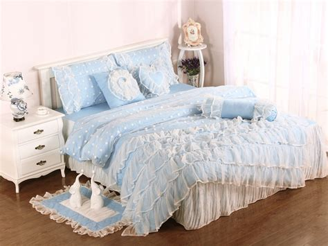 girls full bedding blue girls lace ruffle tulle full size duvet cover bedding