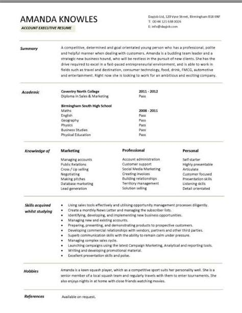 sales executive cv template exle marketing executive