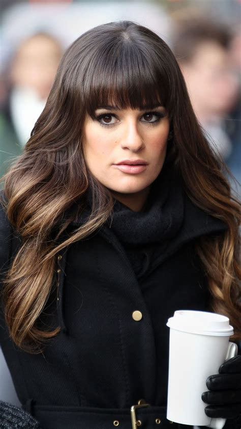 hair bangs short blunt square face lea michelle with blunt bangs and long face framing