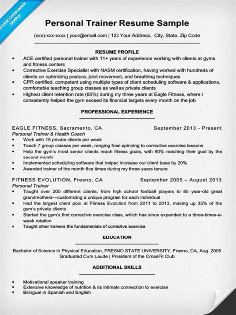 personal trainer resume format personal trainer resume sle writing tips resume companion