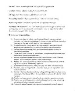 sle front desk description 10 exles in pdf word