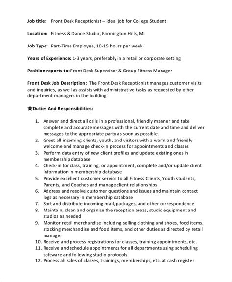 gym front desk job sle front desk job description 10 exles in pdf word