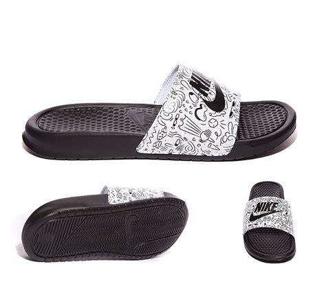 nike benassi jdi print slide sandals nike womens benassi jdi slide print sandal black white
