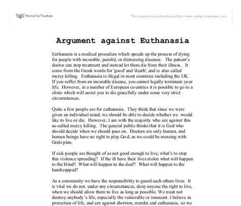 Philosophy Papers On Euthanasia by Free Argumentative Essays On Euthanasia Free