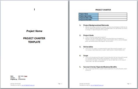 Project Charter Templates Swiftlight Software Project Template Word