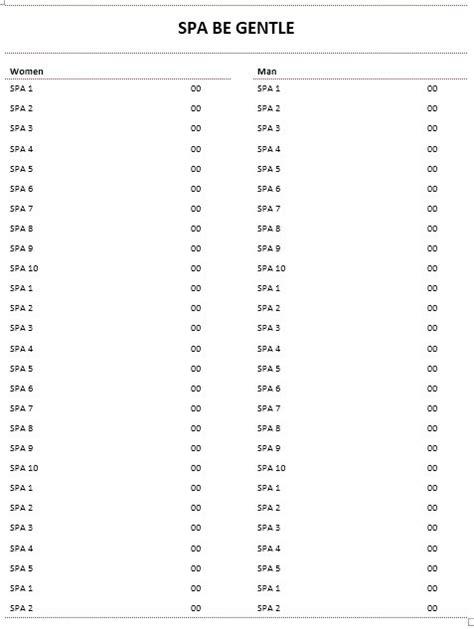 10 free sle spa price list templates printable sles