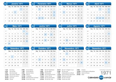 Calendario De 1971 Calend 225 1971
