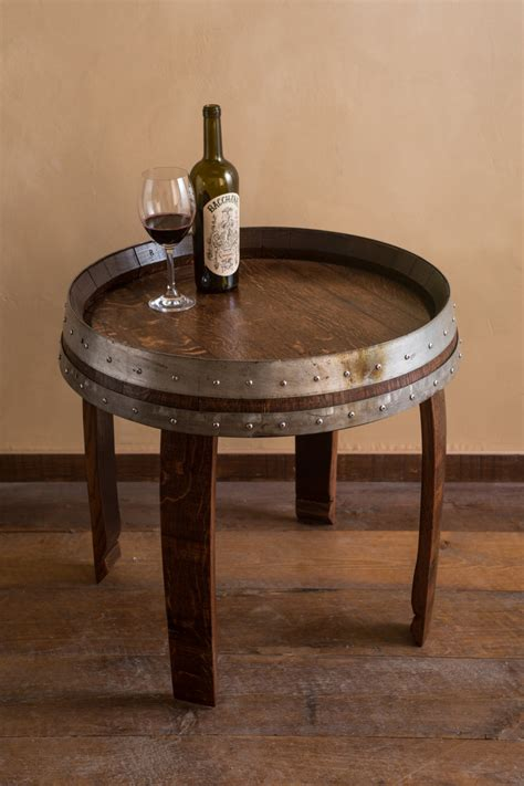 Barrel End Tables mahogany stained wine barrel end table by alpinewinedesign