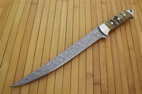 Handmade Fillet Knife - handmade damascus filet knife by cote custom knives