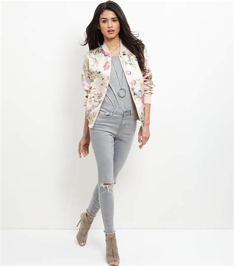 new look new look pink floral print bomber jacket satiny
