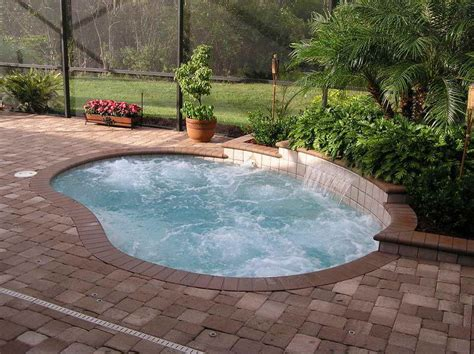 Small Inground Swimming Pool With Mini Fountain Stroovi Inground Swimming Pool Designs
