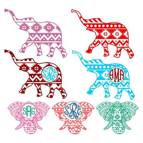aztec pattern font aztec print elephant cuttable designs silhouette