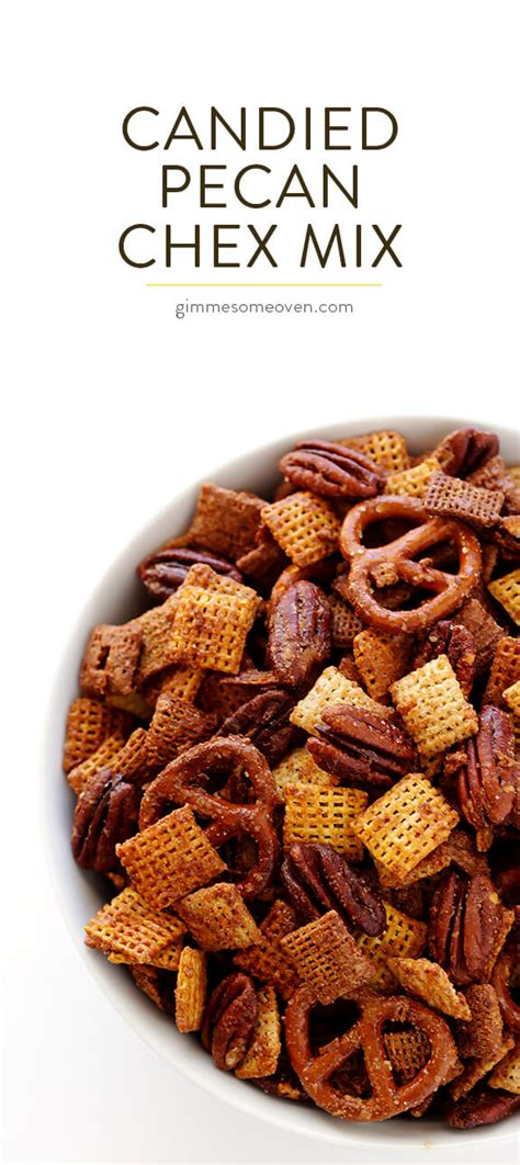 recipe for traditional chex mix candied pecan chex mix gimme some oven