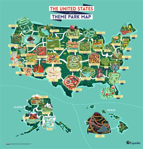 theme park usa see the usa as an outdoor theme park with this colourful map