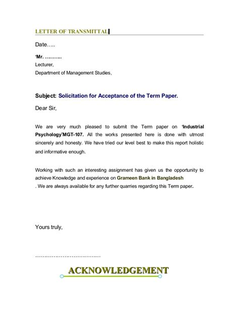 Acceptance Letter To Bank Manager Report On Grameen Bank In Bangladesh