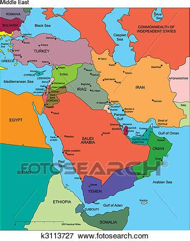 middle east map with country names clip of middle east with editable countries names
