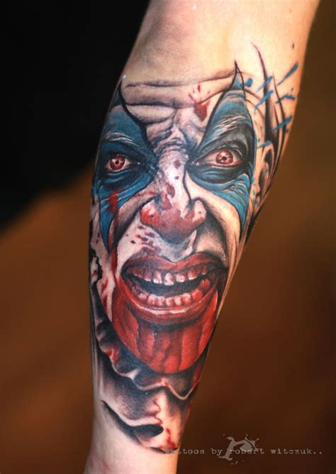 circus tattoo colorful demonic clown on leg sleeve