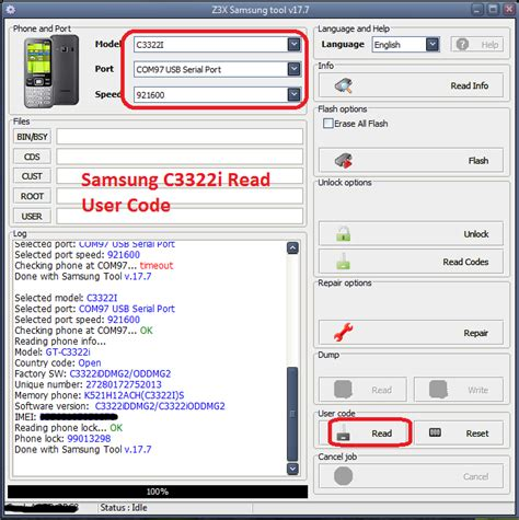 samsung i5503 pattern unlock z3x samsung c3322i read user code done with z3x samsung tool