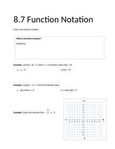 Algebra 1 Function Notation Worksheet by The World S Catalog Of Ideas
