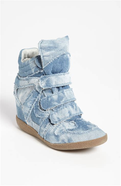 sneaker wedges steve madden steve madden hilitec wedge sneaker in blue denim lyst