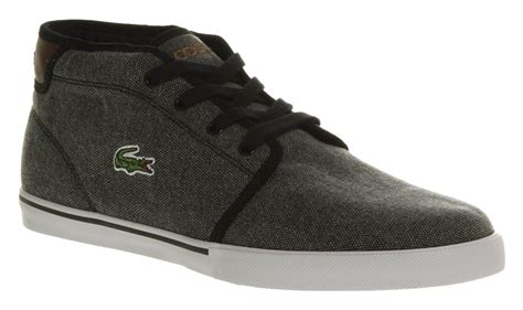 mens lacoste thill mid black canvas casual trainer