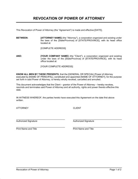 business power of attorney template revocation of power of attorney template sle form