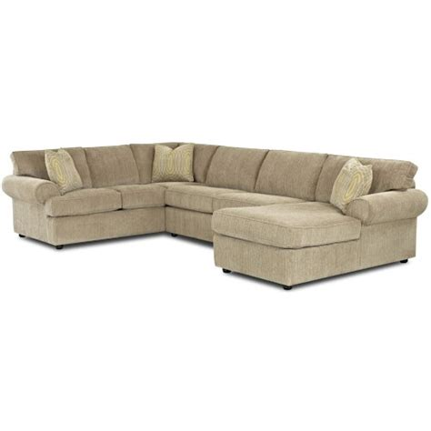 Klaussner Sectional Sofa Klaussner Julington Transitional Sectional Sofa With Rolled Arms And Right Chaise Wayside
