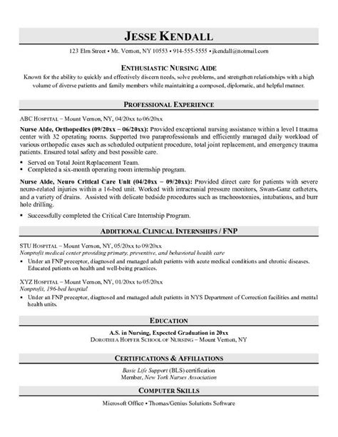 Free Resume Templates For Certified Nursing Assistant Resume Exles No Experience Related To Certified Nursing Assistant Resume Sle No