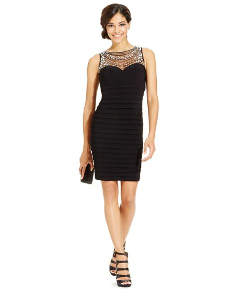 patra bodycon dress with beaded illusion neckline in black
