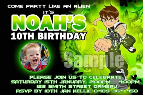 Ben 10 Birthday Invitation Cards Templates by Ben 10 3