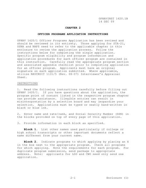 Commanding Officer Endorsement Letter Exle Opnavinst 1420 1b Officer Programs